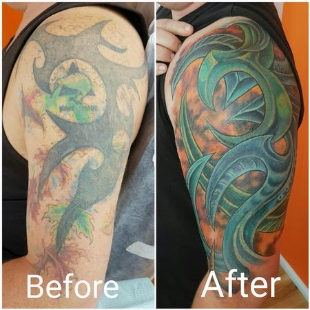 Tattoos - Biomechanical Color Half Sleeve Cover Up Tattoo - 123276