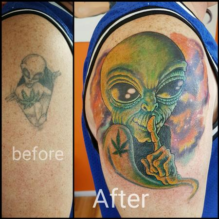 Tattoos - Aliens Among Us Coverup Tattoo - 123763