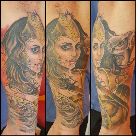 Tattoos - Goddess Athena Color Tattoo - 123801