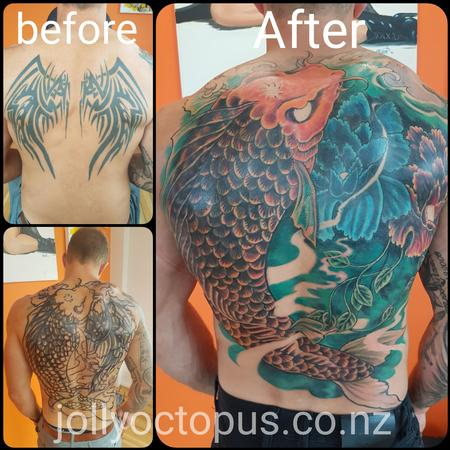 Tattoos - Japanese Koi Coverup Tattoo - 126772