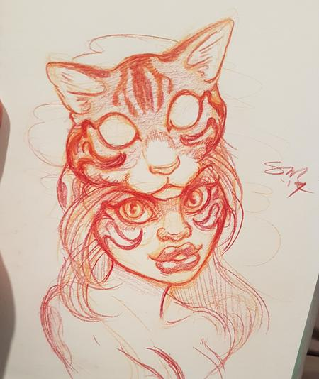 Steve Malley - Cat Head Warrior Woman Tattoo Design