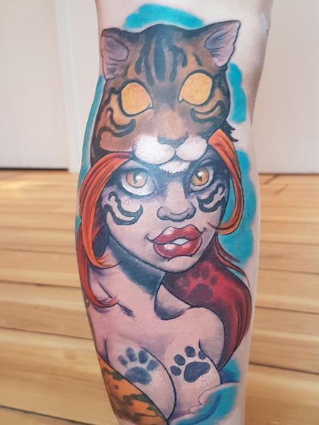 Tattoos - Cat Head Warrior Woman Pinup Tattoo - 127691