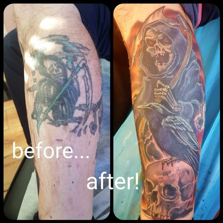 Tattoos - Grim Reaper Cover Up Tattoo - 129129