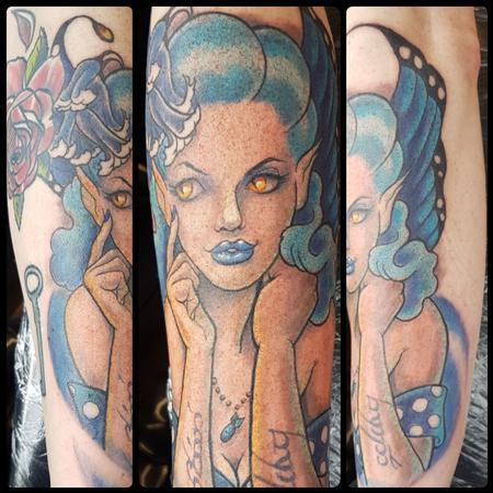 Tattoos - Blue Fairy Rockabilly Pinup Tattoo - 129644