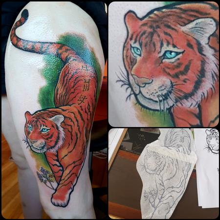 Tattoos - Proud and Noble Tiger Neotraditional Color Tattoo - 130122