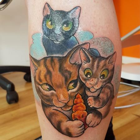 Tattoos - Cartoon Cat Portrait Tattoo - 131084
