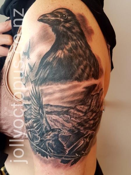 Tattoos - Black and Gray Crow Tattoo - 131828