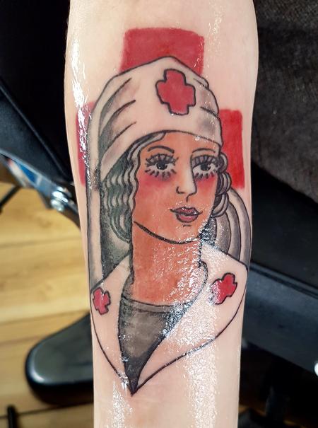Tattoos - Vintage Nurse American Traditional Pinup Tattoo - 131686