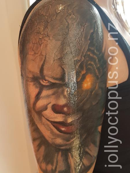 Tattoos - Pennywise Evil Clown Color Tattoo - 131888
