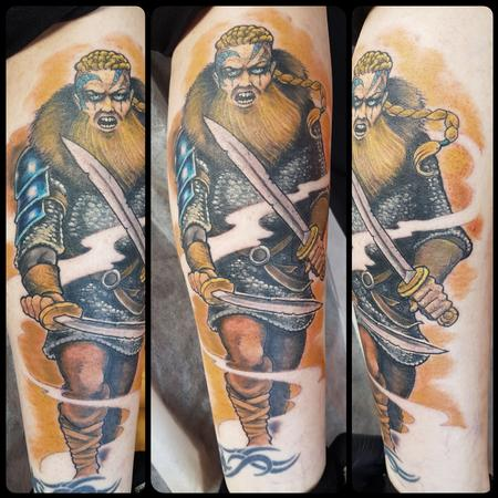 Tattoos - Fierce Viking Warrior Color Tattoo - 131899