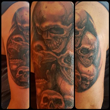 Tattoos - Black and Gray Skull Half-Sleeve Tattoo - 132096