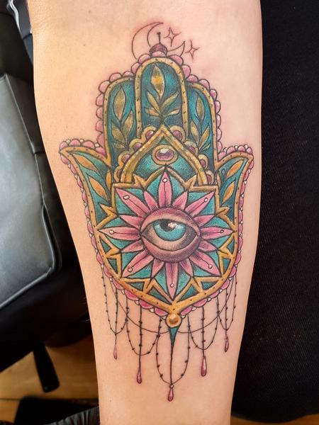 Tattoos - Hand of Fatima Feminine Color Tattoo - 132241
