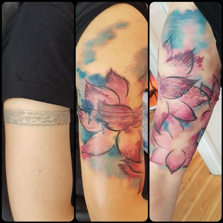 Tattoos - Watercolor Feminine Flower Cover-up Tattoo - 133493