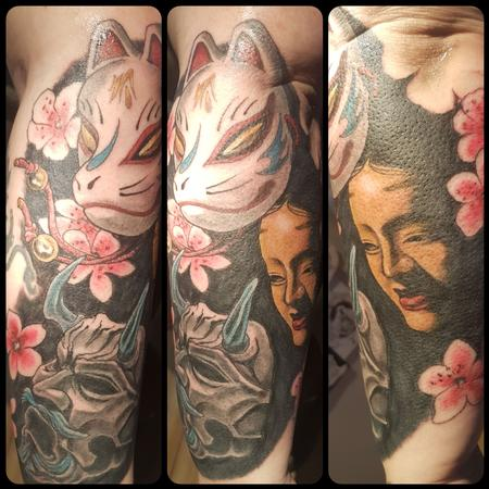 Steve Malley - Japanese Noh Mask Color Tattoo