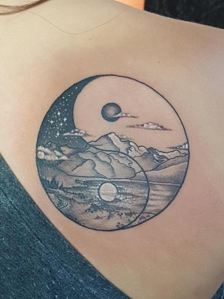 Tattoos - Yin Yang Mountain Tattoo - 133823