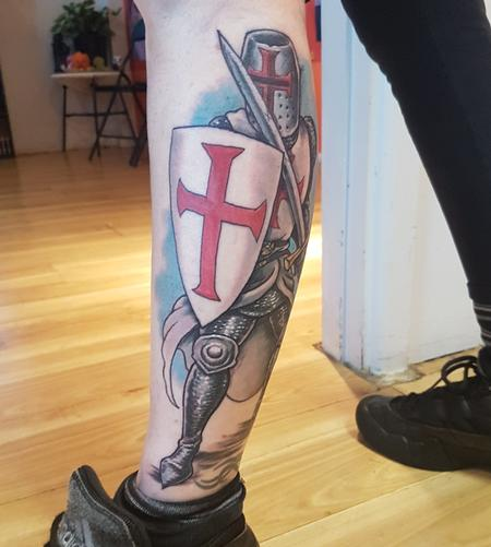 Steve Malley - Templar Knight Color Tattoo