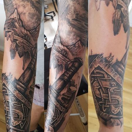 Tattoos - Black and Gray Norse Sleeve Tattoo - 131743