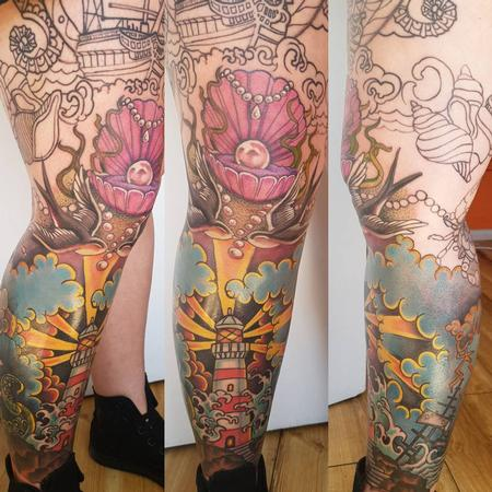 Tattoos - Neotraditional Leg Sleeve Color Tattoo - 131750