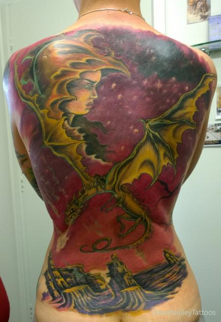 Tattoos - Dragonriders Full Back Tattoo  - 111874