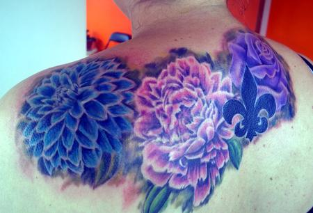 Tattoos - Colorful Feminine Flower Tattoo - 114256