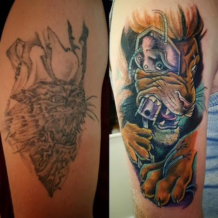 Tattoos - Cyborg Lion Cover-up Tattoo  - 119343