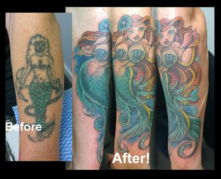 Tattoos - Pinup Mermaid Cover-Up Tattoo  - 112186