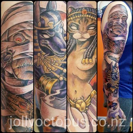 Tattoos - New School Egyptian Gods Full Sleeve Tattoo - 128674