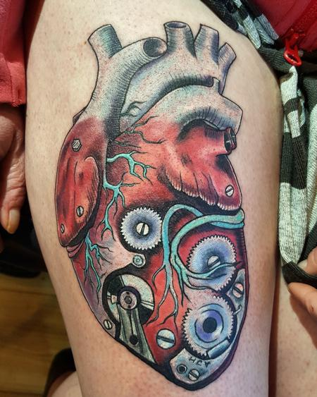 Tattoos - Robot Heart Neotraditional Color Tattoo - 119344