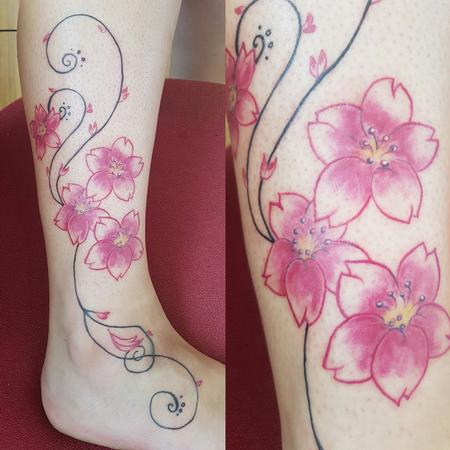 Tattoos - Pretty and Feminine Cherry Blossoms Tattoo - 126254