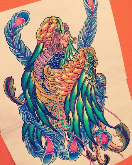 Makiko Komamiya - Japanese Phoenix Tattoo Design