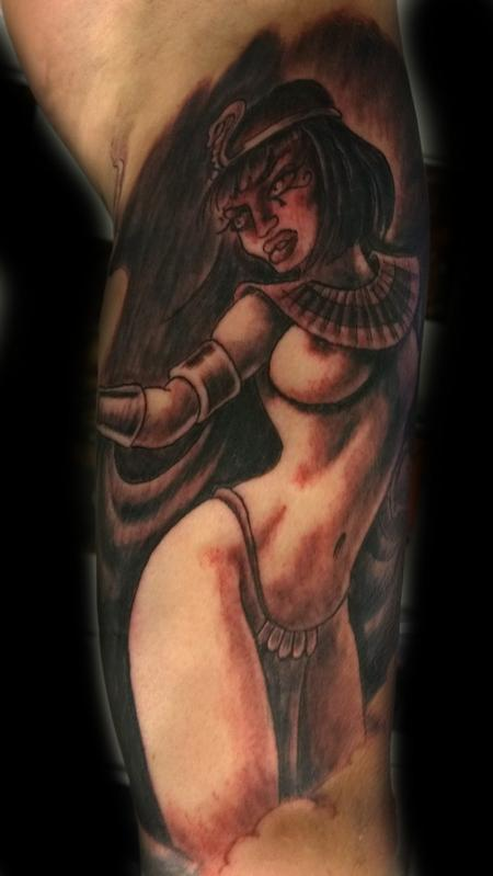 Steve Malley - Priestess Black and Gray Pinup Tattoo