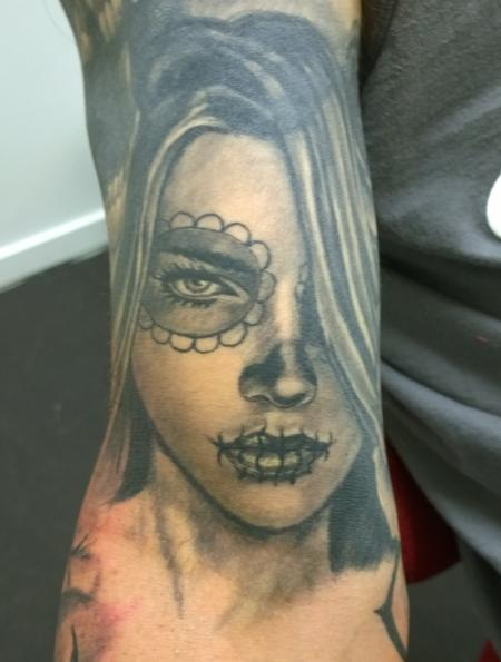 Tattoos - Day of the Dead Girl Portrait Tattoo  - 112084