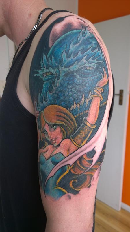 Tattoos - Maiden and Dragon Tattoo  - 112318