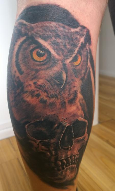 Tattoos - Owl and Skull Tattoo  - 112459