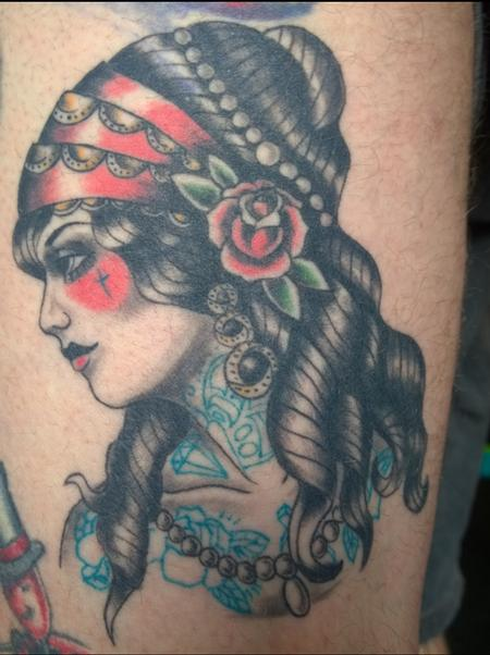 Tattoos - American Traditional Gyspy Pinup Tattoo - 113890