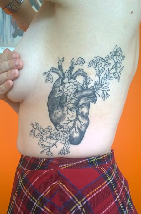 Tattoos - Feminine Floral Anatomical Heart Tattoo  - 114057