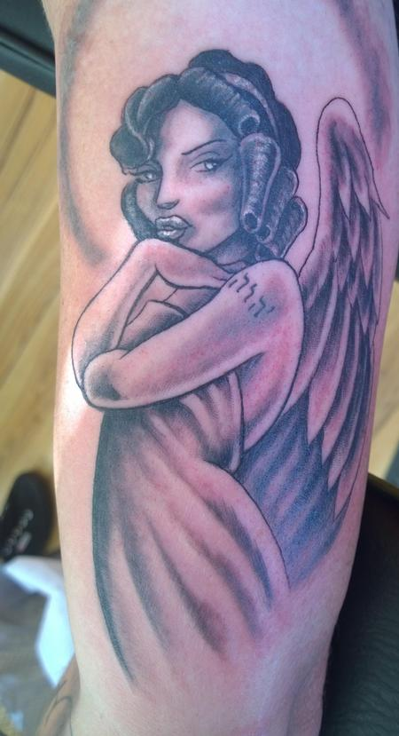 Tattoos - Feminine Angel Black and Gray Angel Tattoo  - 116153