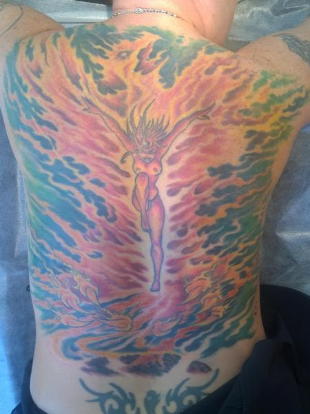 Steve Malley - Pinup Phoenix Full Back Tattoo