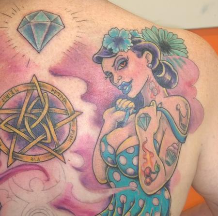 Tattoos - New School Rockabilly Pinup Tattoo - 121949