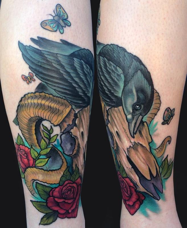 Crow And Ram S Skull Tattoo By Katelyn Crane Tattoonow