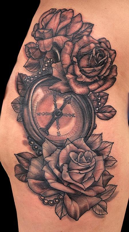 Tattoos - Compass and Rose tattoo - 99044
