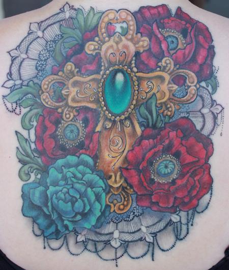 Tattoos - Cross and Poppy tattoo - 92147