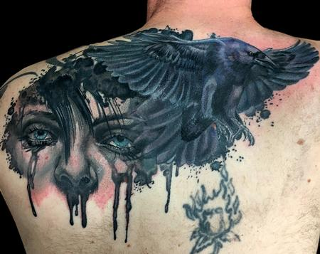 Tattoos - Crying Woman and Crow tattoo - 125231