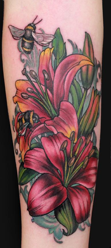Tattoos - Lillies and bees tattoo - 101926