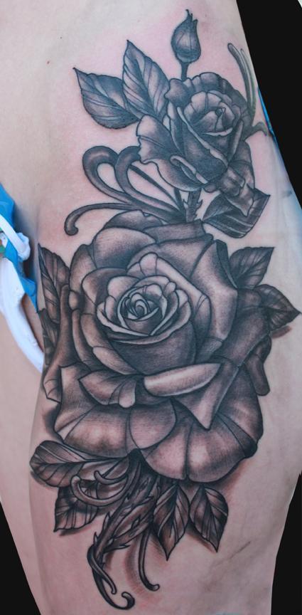 Tattoos - Black and Grey rose tattoo  - 92141