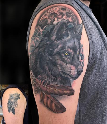 Tattoos - Wolf and Feathers Coverup - 132594