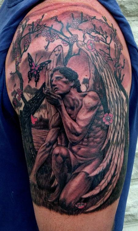 Tattoos - Male Angel with Butterfly - 96403
