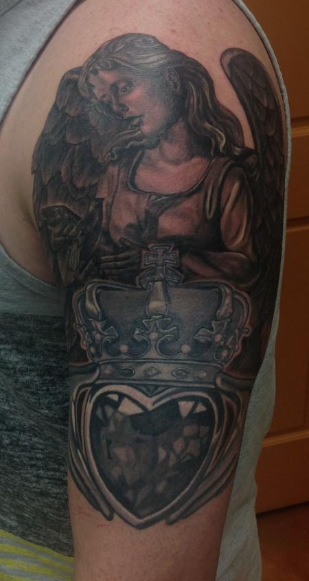 Tattoos - Angel and Claddagh - 100781