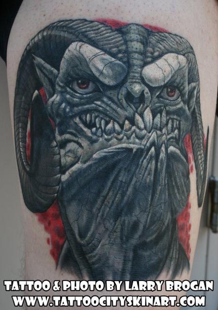 Tattoos - Horny Demon Head - 78064