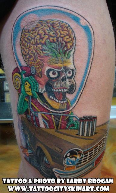Tattoos - Mars Attacks Ambassador driving a '64 Chevy II Rat Fink style. - 89528